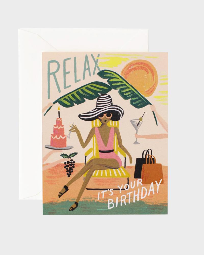 Rifle Paper co Relax Birthday Card Synttärikortti