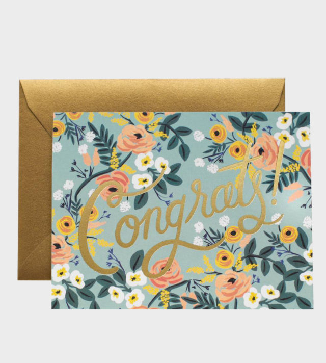 Rifle Paper co Congrats Meadown Greeting Card Onnittelukortti