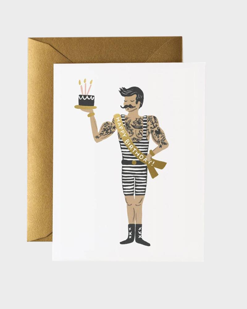 Rifle Paper co Strongman Birthday Card Synttärikortti