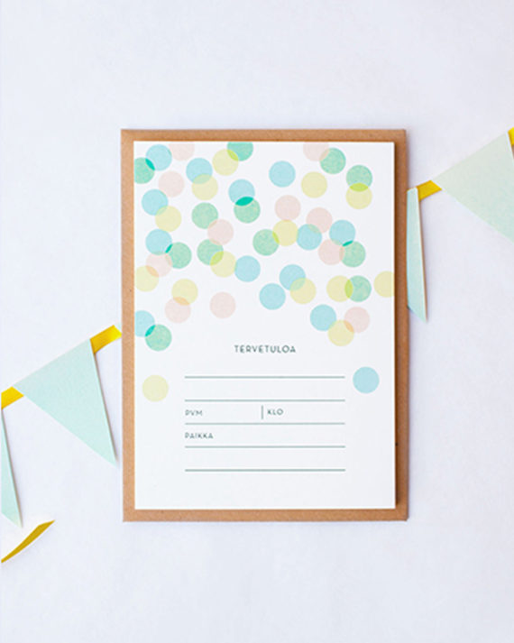Papershop Confetti Kutsupohja Invitation set