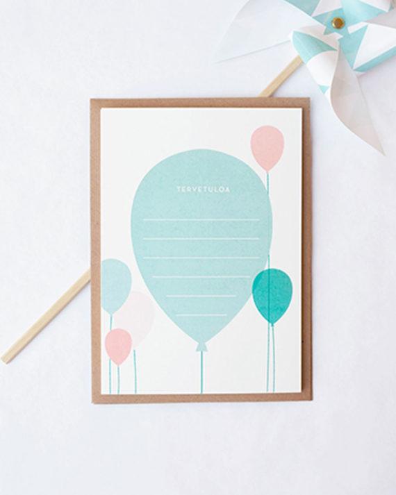 Papershop Ilmapallot Kutsupohja Balloons Invitation set
