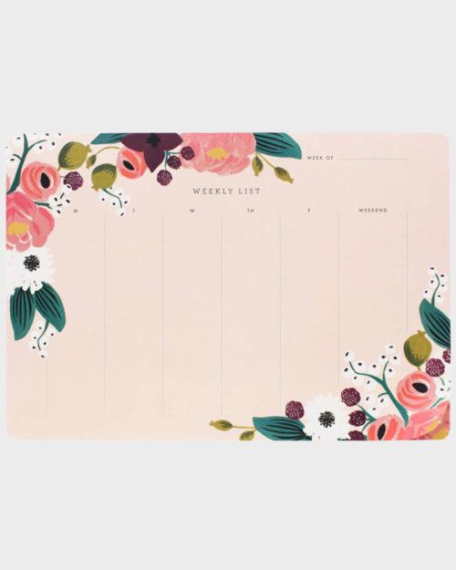Rifle Paper co Pink Floral Weekly list Viikkolista