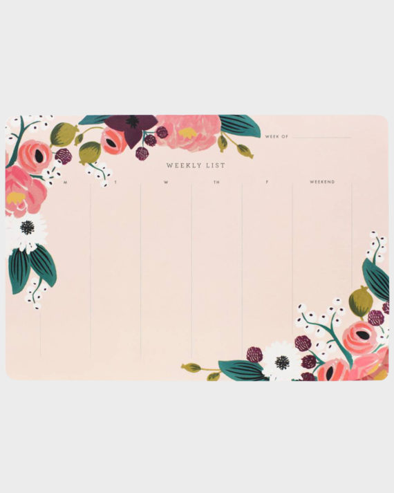 Rifle Paper co Pink Floral Weekly list Viikkolista