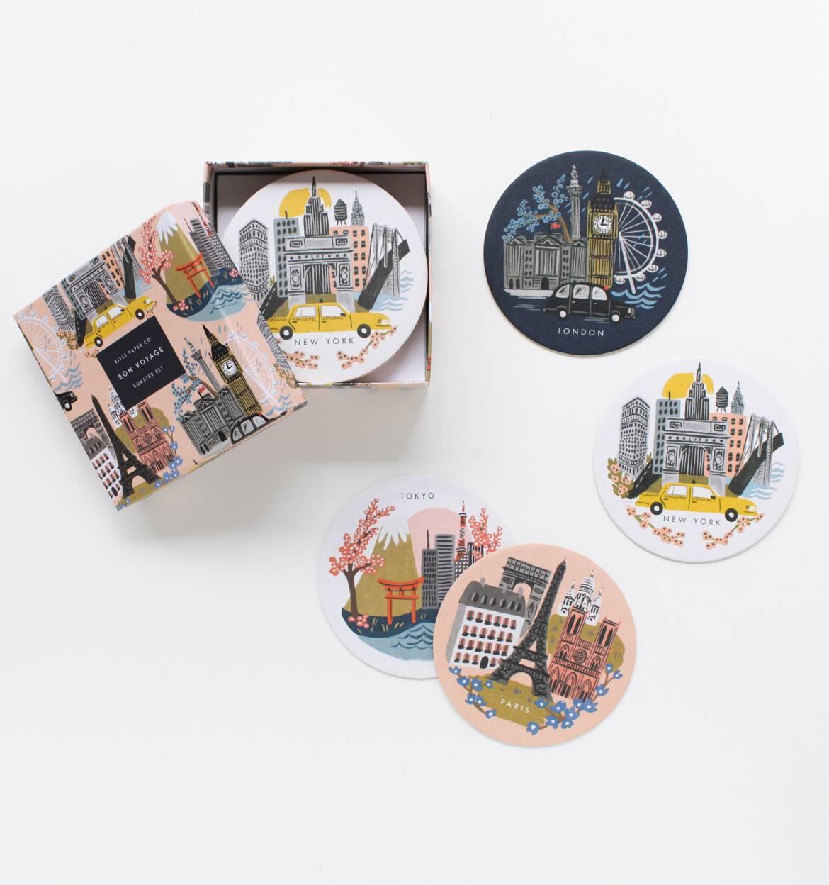 Famous cities coaster set