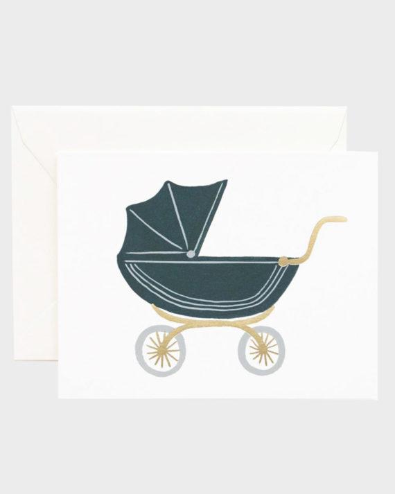 Rifle Paper co Pram Baby Greeting Card Vauvaonnittelukortti