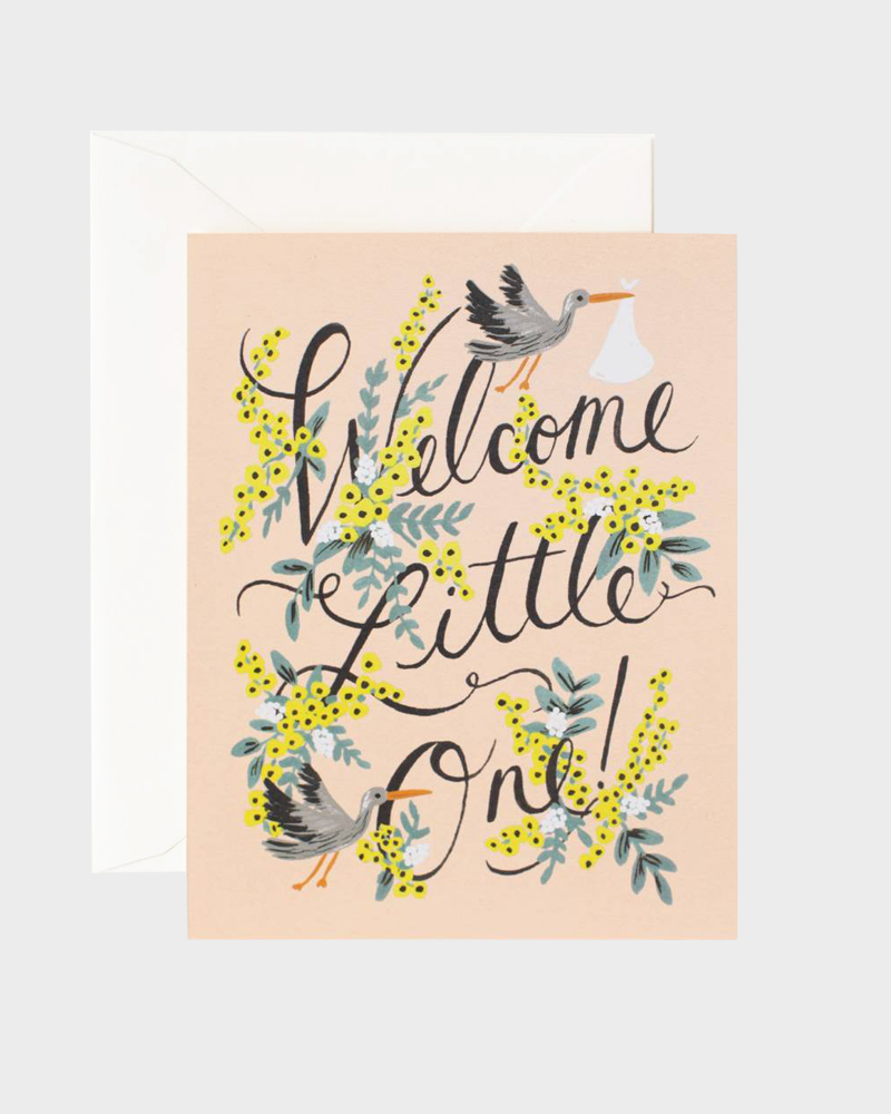 Rifle Paper co Welcome Little One Baby Card Vauvaonnittelukortti