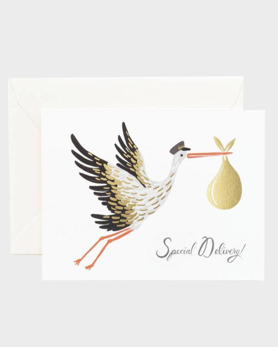 Rifle Paper co Baby Stork Greeting Card Vauvaonnittelukortti