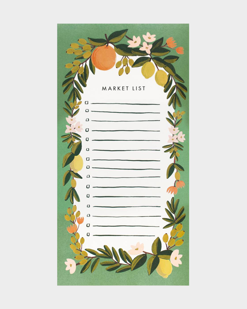Rifle Paper co Citrus Floral Julep market shopping list ostoslista kauppalista