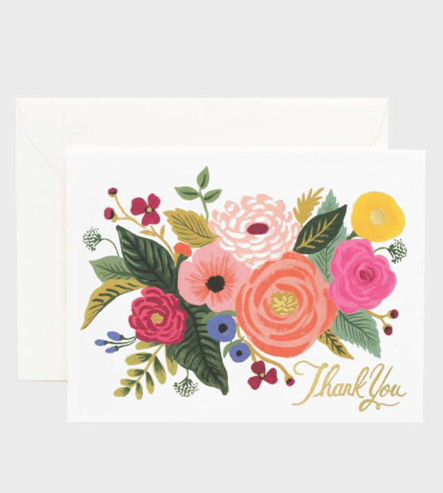 Rifle Paper co Juliet Rose Thank You Card Kiitoskortti