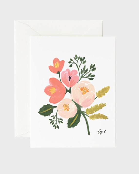 Rifle Paper co Pink Peony Floral Greeting Card Kortti