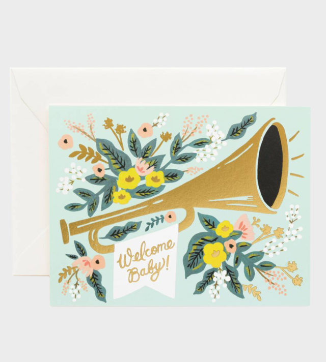 Rifle Paper co Welcome Jubilee Baby card Vauvaonnittelukortti