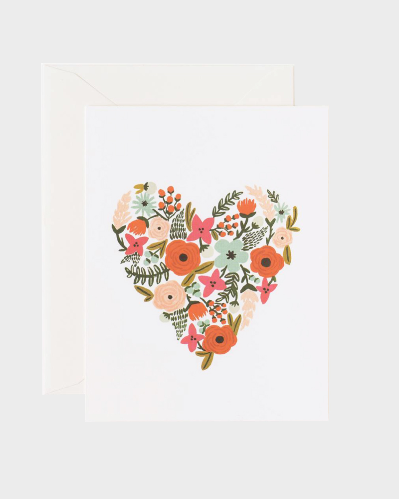 Rifle Paper co Floral Heart Greeting Card Onnittelukortti