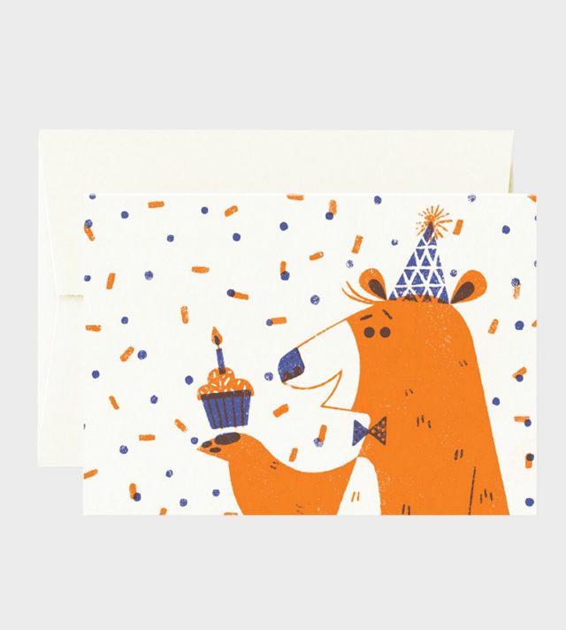 Card Nest Juhlakarhu SYntymäpäiväkortti Bear birthday card