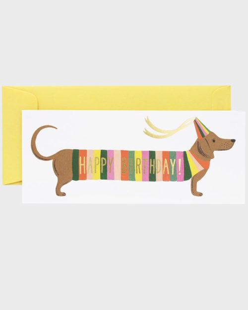 Rifle Paper co Hot Dog Birthday Card Mäyräkoira Onnittelukortt