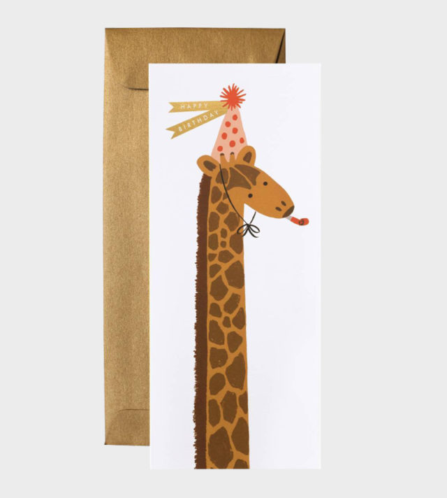 Rifle Paper co Birthday Giraffe Card Large Suuri Onnittelukortti