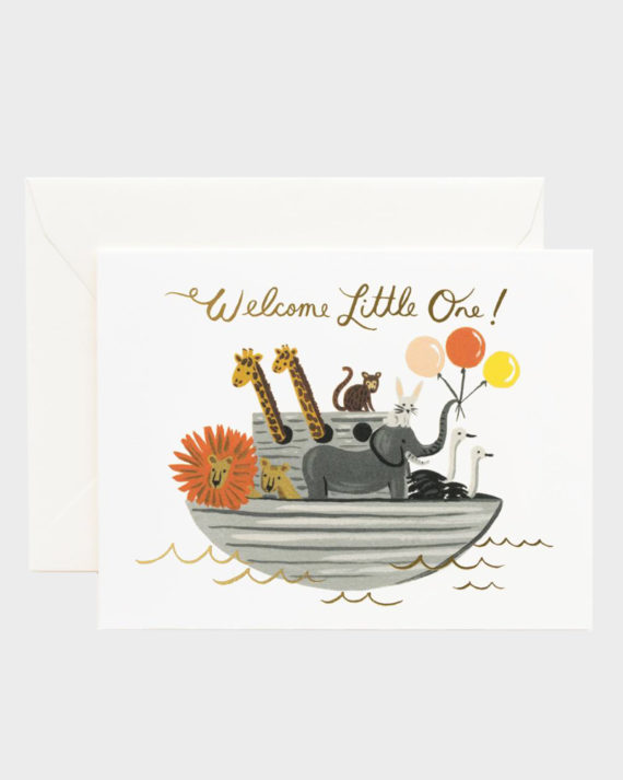 Rifle Paper co Noah's Ark Baby Card Vauvakortti