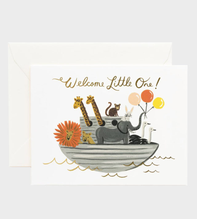 Rifle Paper co Noah's Ark Baby Card Vauvakortti