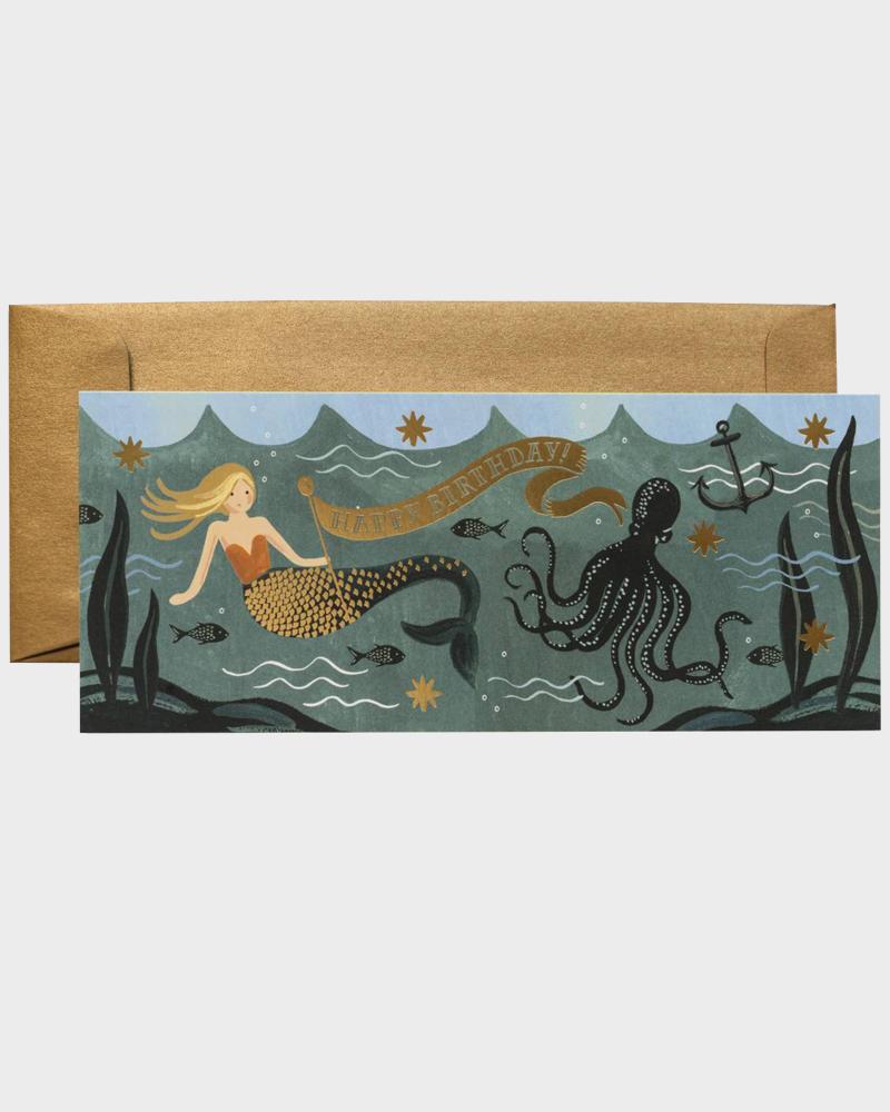 Under the Sea Mermaid Birthday Card Merenneito Syntymäpäiväkortti