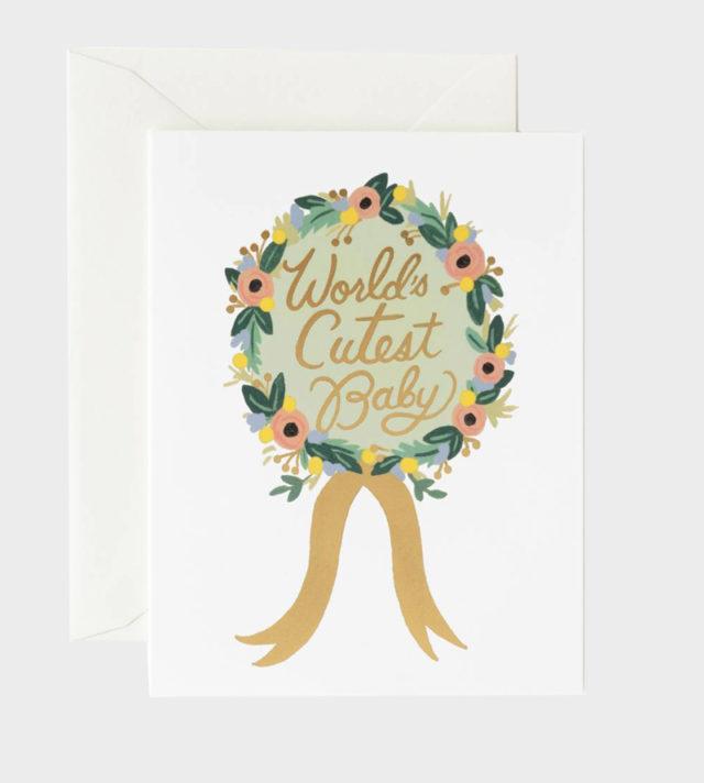 Rifle Paper co World's cutest baby card Vauvaonnittelukortti