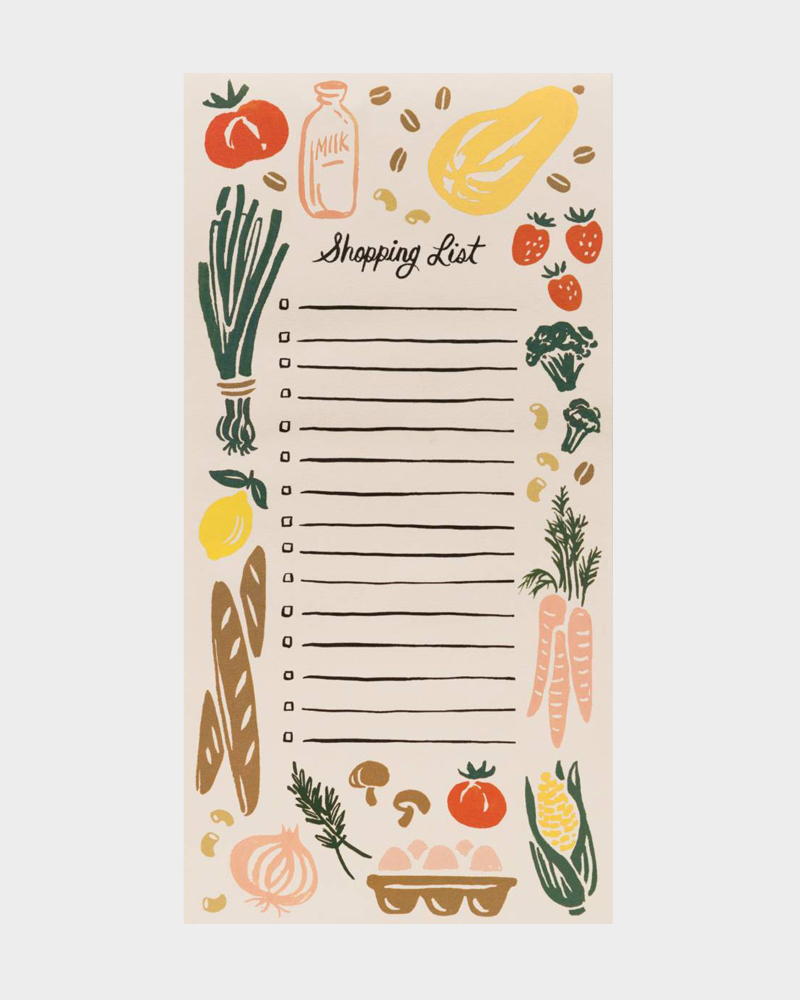 Rifle Paper co Corner Store market shopping list kauppalista