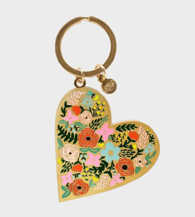 Rifle Paper co Floral Heart Keychain Kukallinen Sydän Avaimenperä