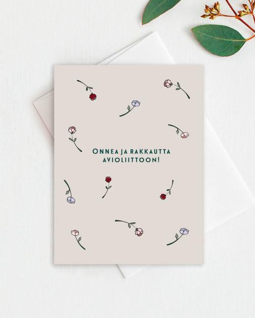Onnea ja rakkautta avioliittoon kortti ruusukuvituksella