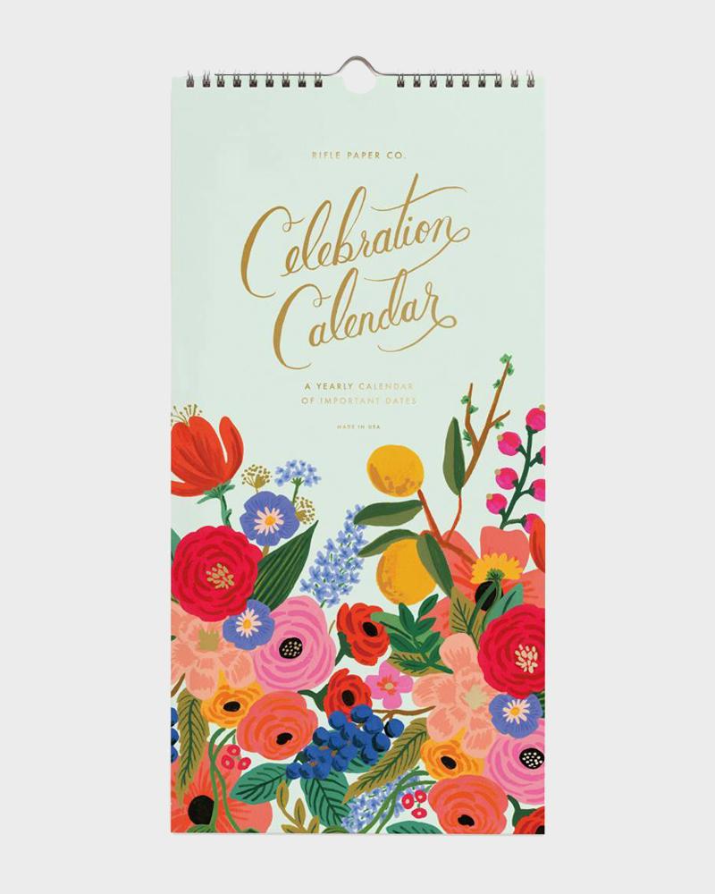 Rifle Paper co Celebration Wall Calendar Juhlapyhä Seinäkalent