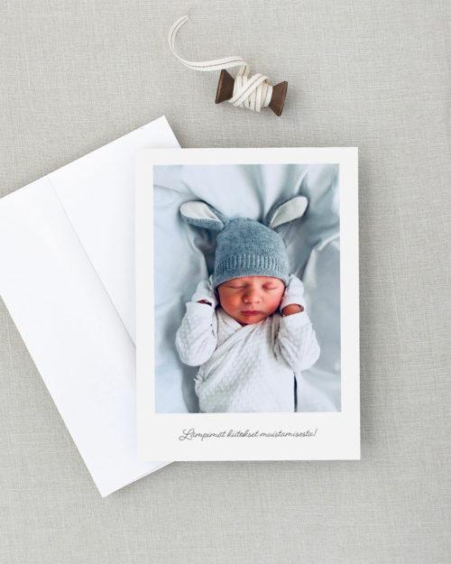 Baby Polaroid kiitoskortti vauvakortti