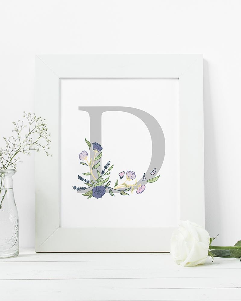 Papershop Kukallinen Kirjainjuliste Botanical Letter Poster