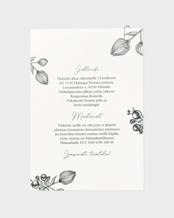 Wedding invitation and info card