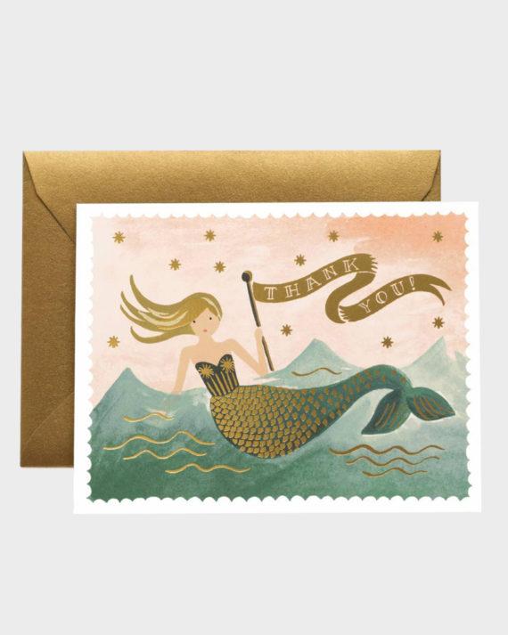 Rifle Paper co Mermaid Thank You Card Merenneito Kiitoskortti