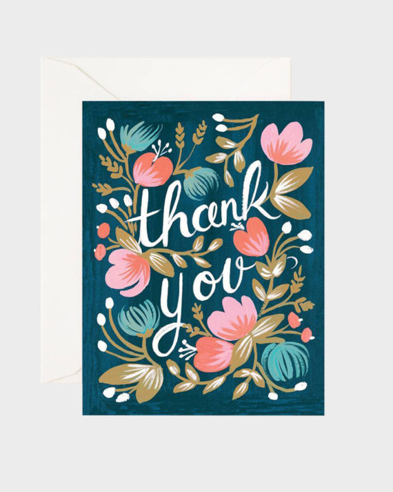 Rifle Paper co Midnight Garden Thank You Card Kiitoskortti