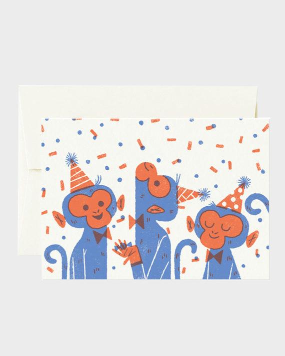 Card Nest Juhla-apinat Syntymäpäiväkortti Monkeys birthday ca