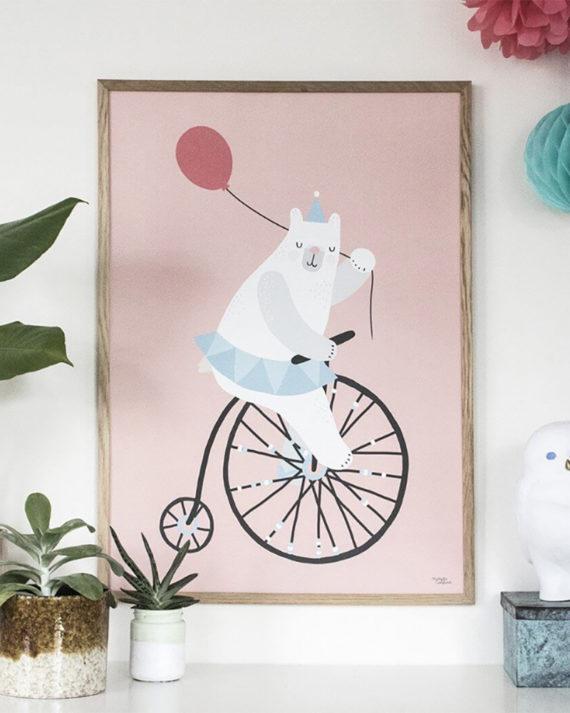 Michelle Carlslund Illustration Cycling Bear Poster