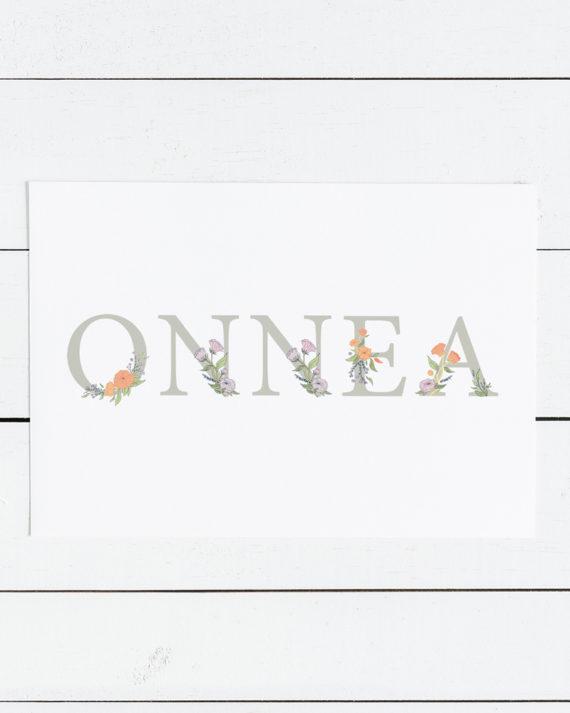 Papershop Kukallinen Onnea Syntymäpäiväkortti Botanical Birth