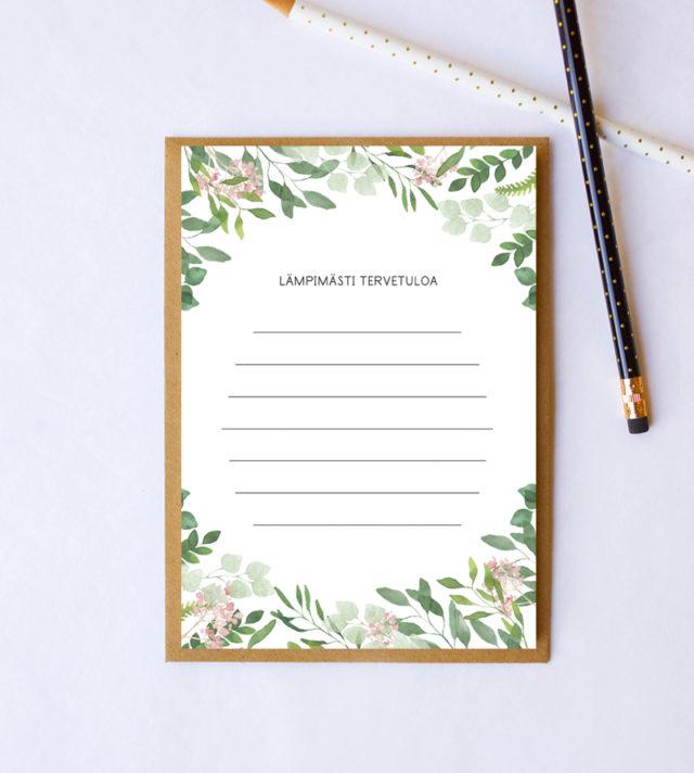Papershop Botanical Kutsupohja Ylioppilasjuhlat Tervetuloa Invit
