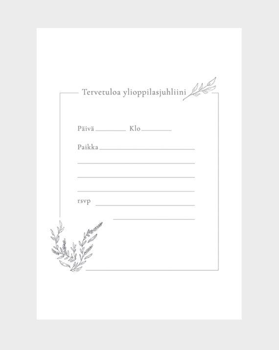 Papershop Minimal Kutsupohja Ylioppilasjuhlat Tervetuloa Invitat