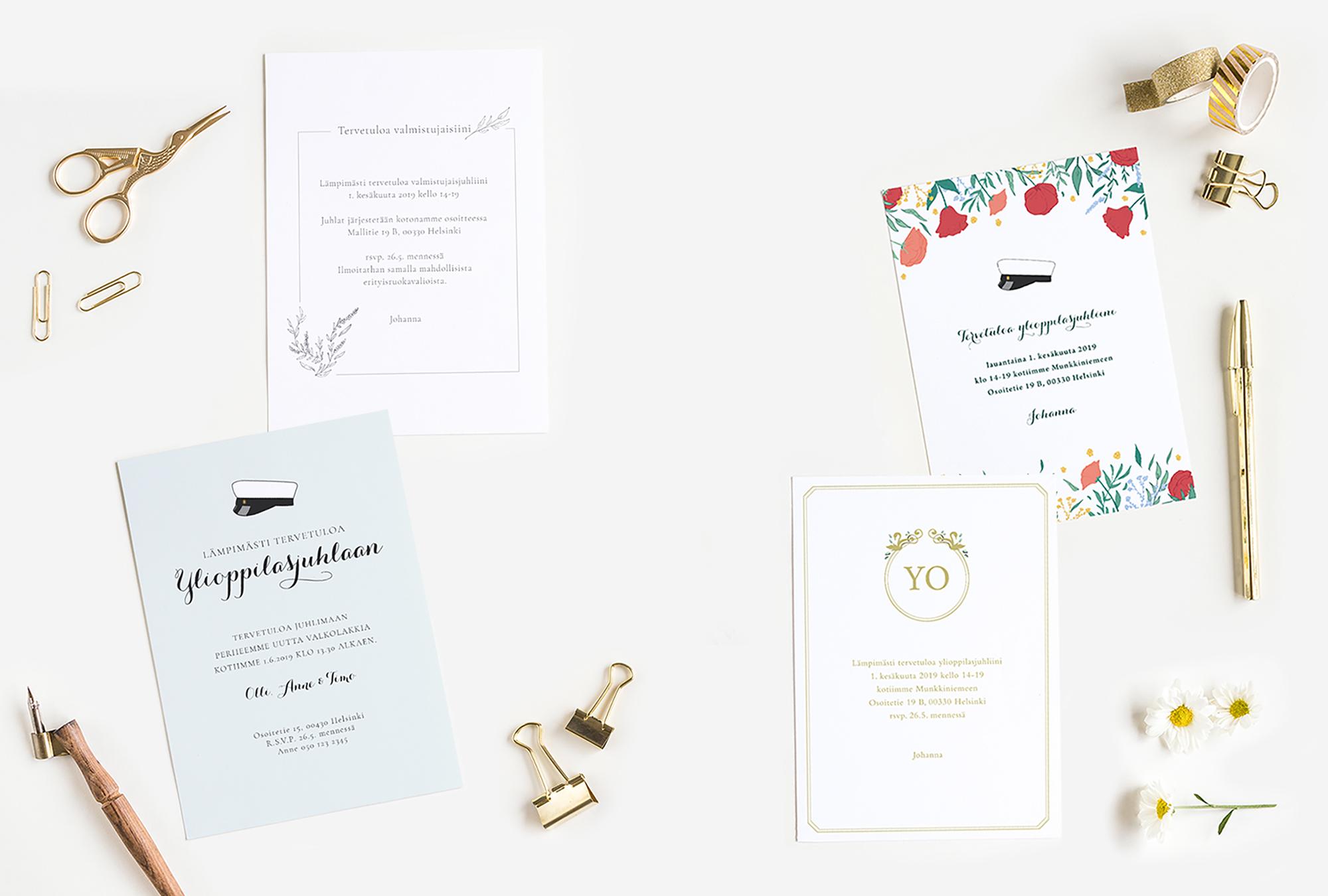 Papershop Painostudio Printing studio Valmistujaiskutsut Graduat