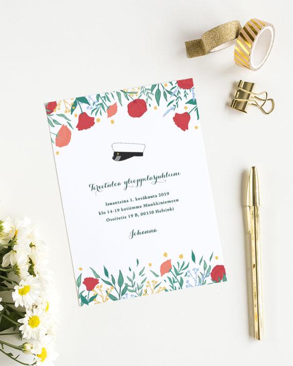 Papershop Painostudio Spring flowers Ylioppilas Valmistujaiskuts