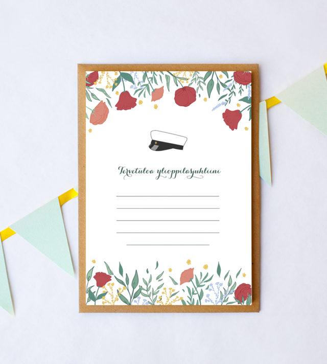 Papershop Floral Kutsupohja Ylioppilasjuhlat Tervetuloa Invitati