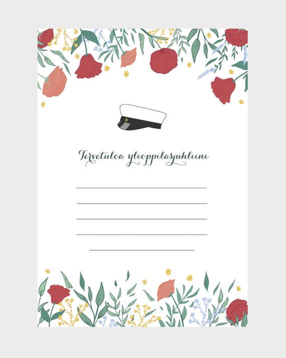 Papershop Spring Floral Kutsupohja Ylioppilasjuhlat Tervetuloa I