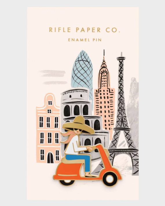 Rifle Paper co Scooter Girl Enamel Pin Skootteri Tyttö Emali Pinssi
