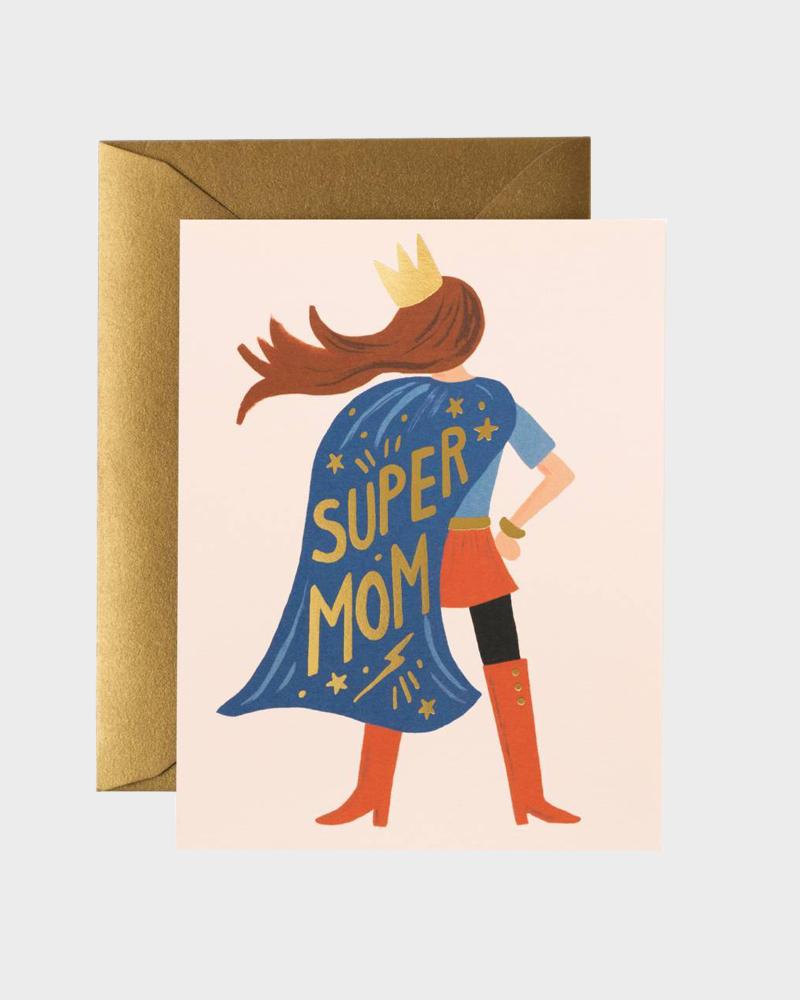 Rifle Paper co Super Mom Mothers Day Card Super Äiti Äitienpä