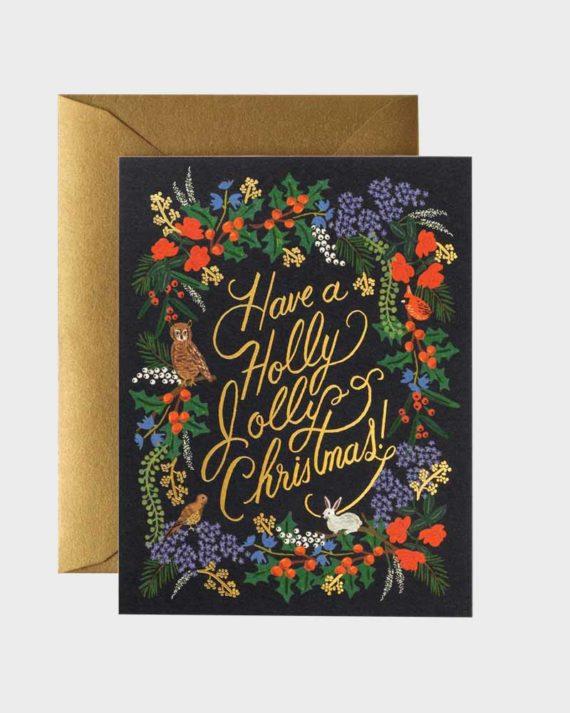 Rifle Paper co Holly Jolly Card Uusi vuosi kortti