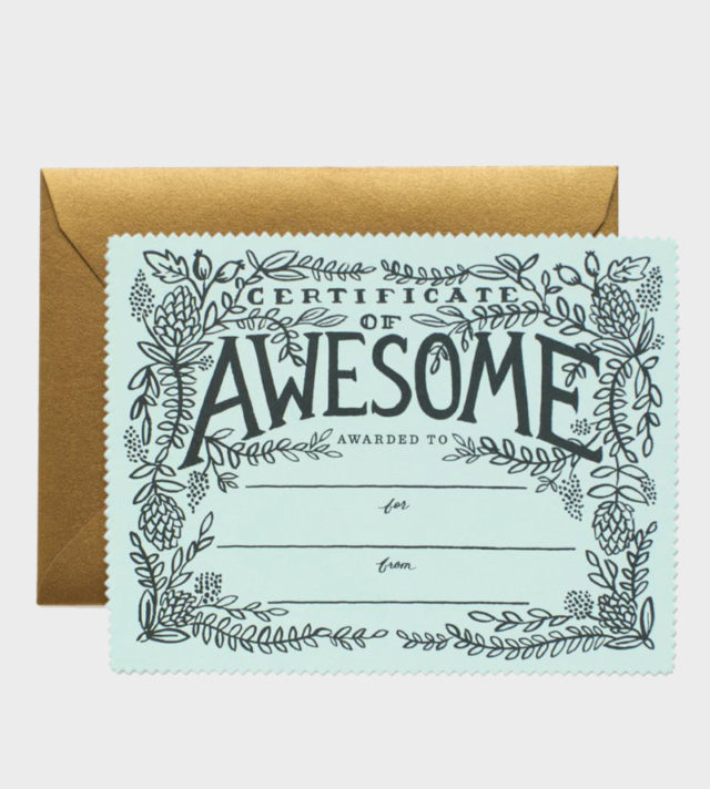 Sertificate of Awesome Greeting Card Onnittelukortti