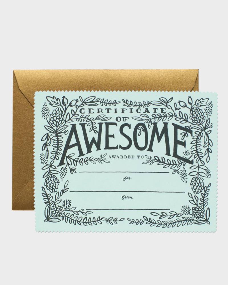 Sertificate of Awesome Greeting Card Onnittelukortti