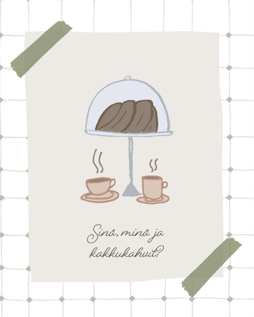 Kakkukahvit syntymäpäiväkortti