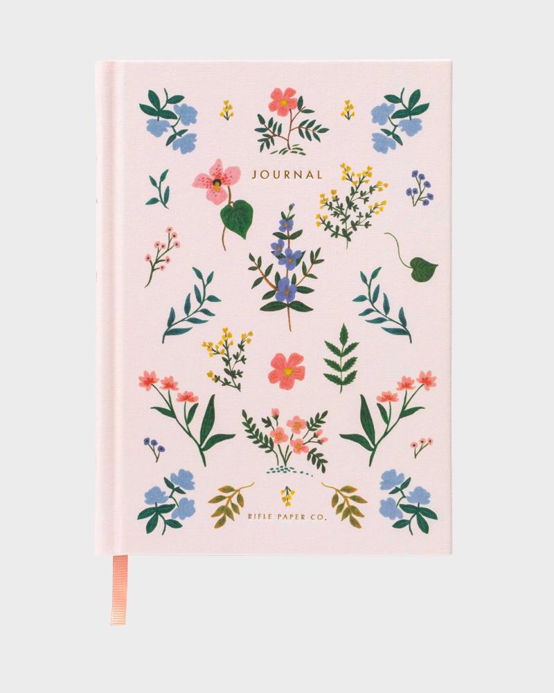 Vaaleanpunainen kukkakuvio muistikirja
