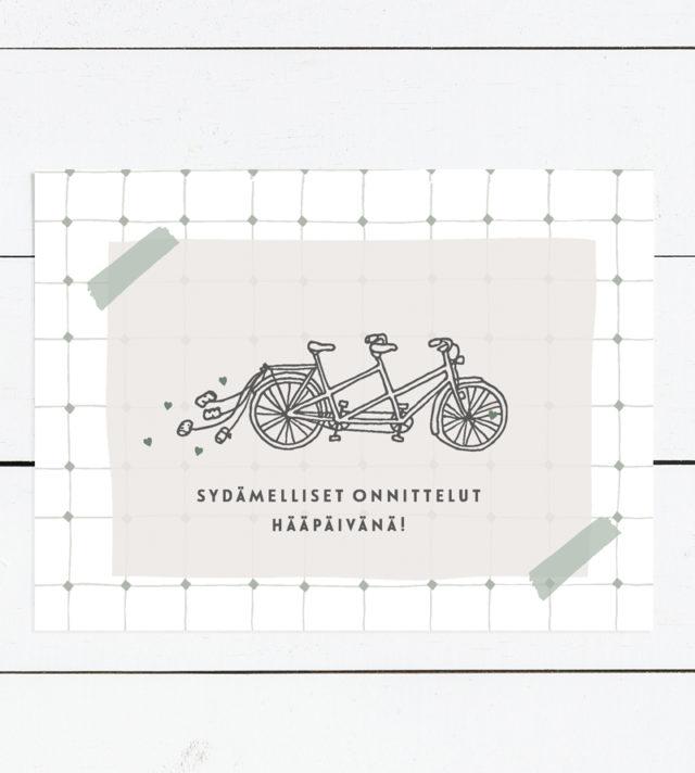 Tandem polkupyörä hääkortti