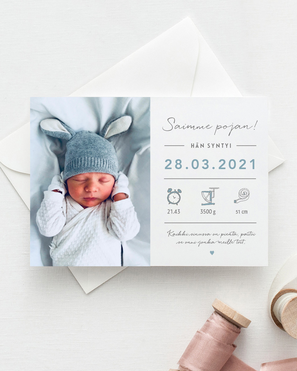 Baby measurements saimme pojan vauvakortti